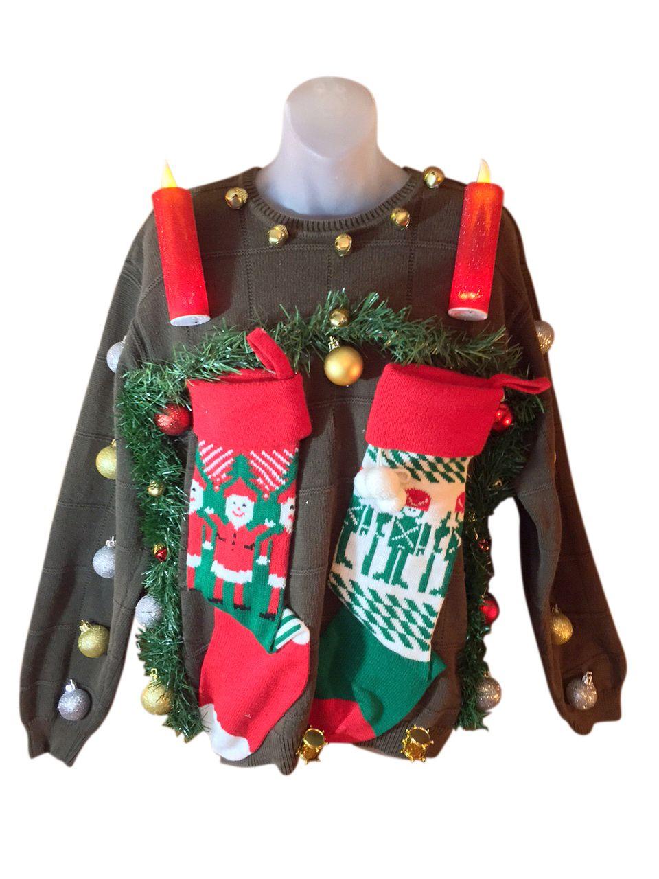 Custom Christmas Sweaters.Stockings And Fireplace Custom Christmas Sweater L 42 25