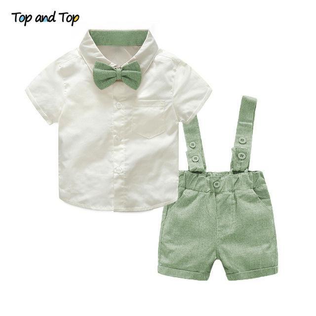 22ea619af85 Summer style baby boy clothing set newborn infant clothing 2pcs short  sleeve t-shirt + suspenders gentleman suit