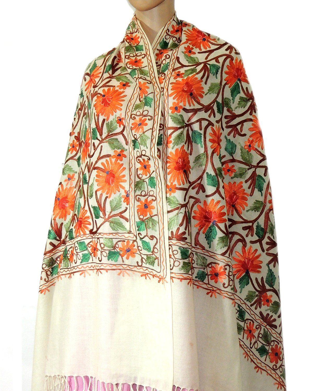 Indian Fashion Guru White Gift Designer Woolen Stole Stoles Flower Design Embroidery Stole Shawl Amazon Fashion Indian Fashion Indian Fashion Designers