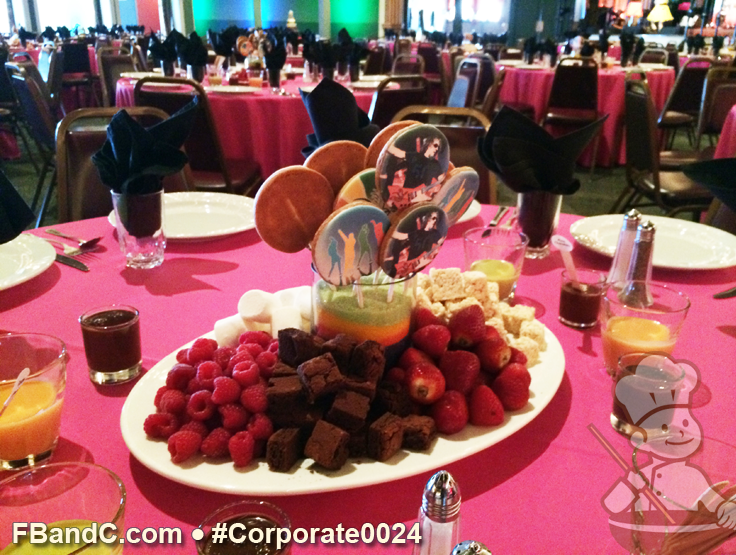 """JR Barragan (See Corporate0023 For Cake) Continued....The table center pieces were filled with a cookie pop arrangement along with treats to be dipped in variety belgian choc ganache flavors including pistachio and rum flavors.   Cassidy the Office Manager emailed and said """"Everything was perfect! Everyone just loved the cake and the centerpieces. It was all much better than I imagined!"""""""