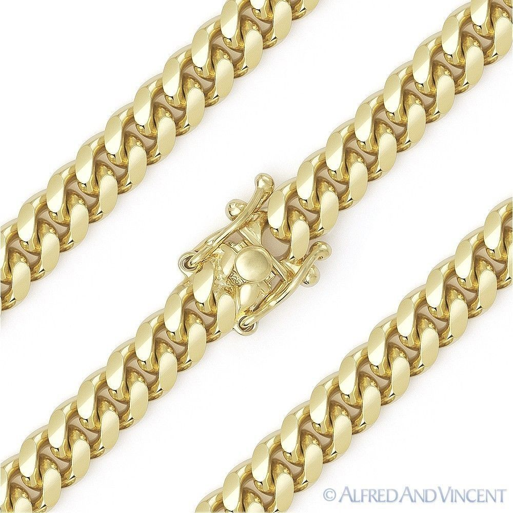 14k Curved Miami Cuban Link Chain Gold Plated Over Pure 925 Sterling Adult Unisex