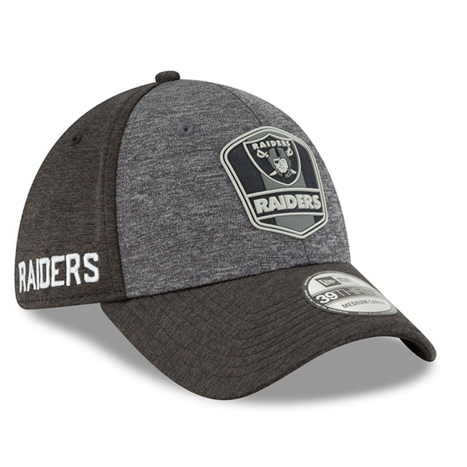 online store 32229 79bcd 2018 Oakland Raiders New Era 39THIRTY NFL Sideline Road On Field Cap Flex  Hat