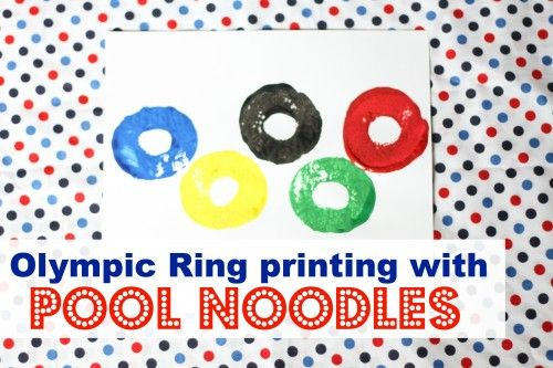 Olympic Ring Printing with Pool Noodles from I Can Teach My Child