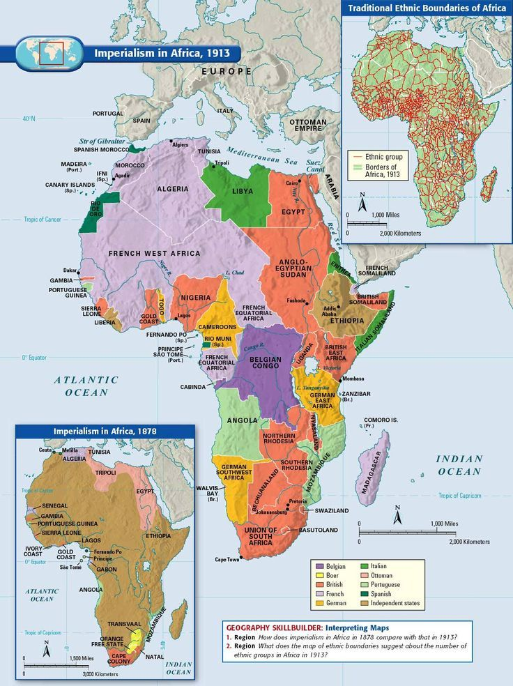 Imperialism in Africa, 1913 | Geography Fun Activities! | Map