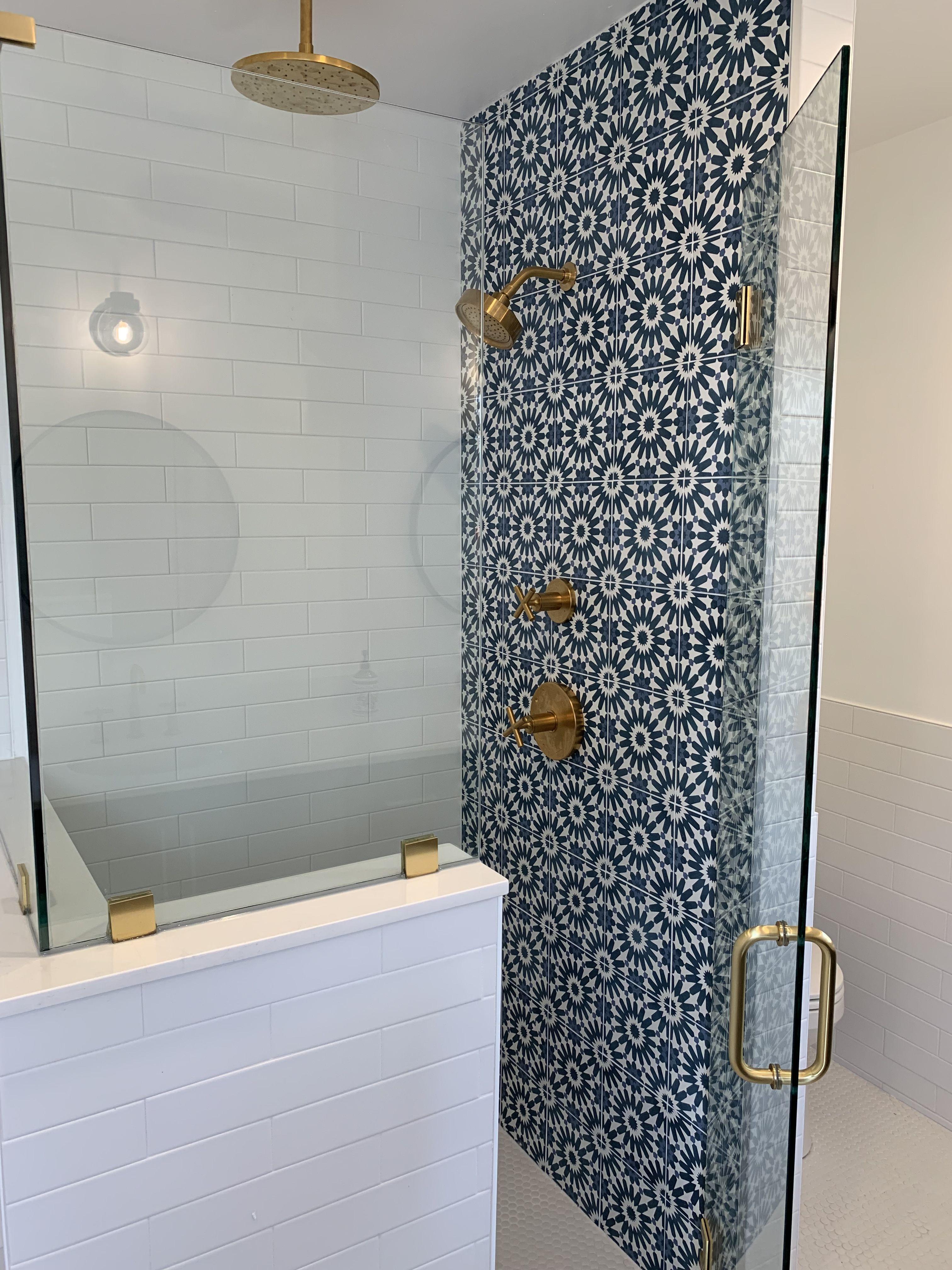 Riad Tile Cement Tile Erizo Blue Tile Accent Wall Bathroom Cement Tiles Bathroom Shower Tile