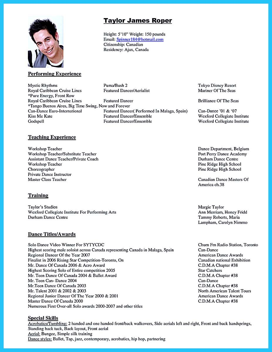 cool the best and impressive dance resume examples