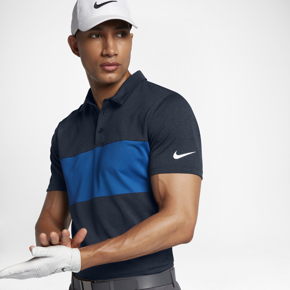 b0bf7563a95678 Nike Breathe Color Block Men s Standard Fit Golf Polo Shirt Size Small  (Blue)