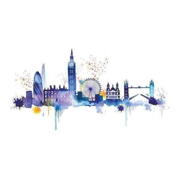 London Skyline Wallpaper Liked On Polyvore Featuring Home
