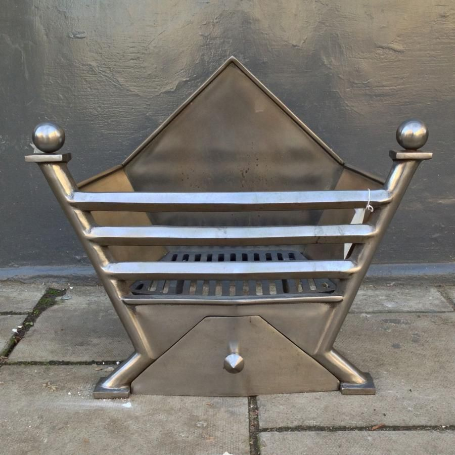 Fire basket with a distinctive Art Deco design for sale on
