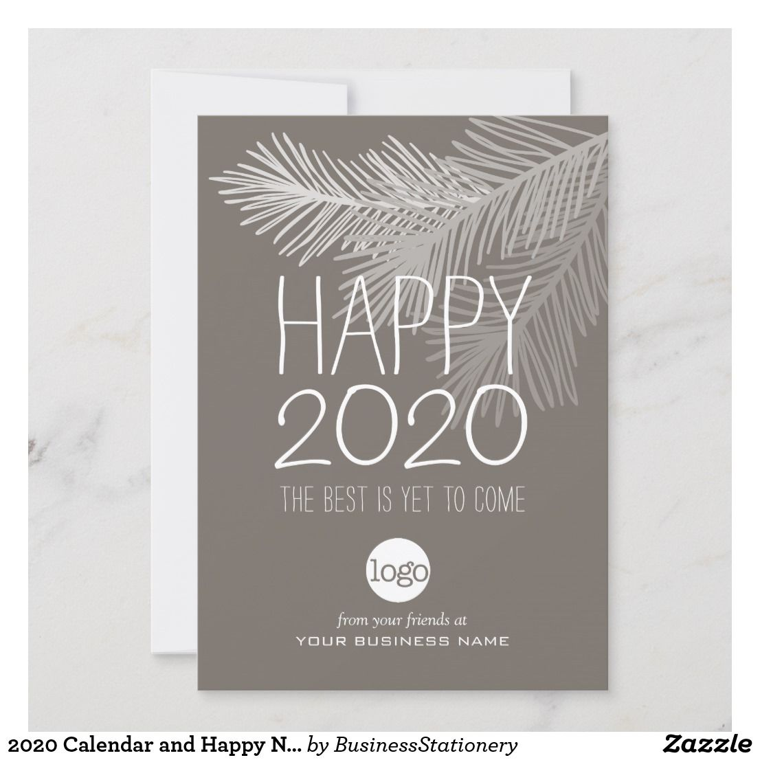 2021 Calendar And Happy New Year Add Business Logo Holiday Card Zazzle Com Business Greeting Cards Company Holiday Cards Corporate Christmas Cards