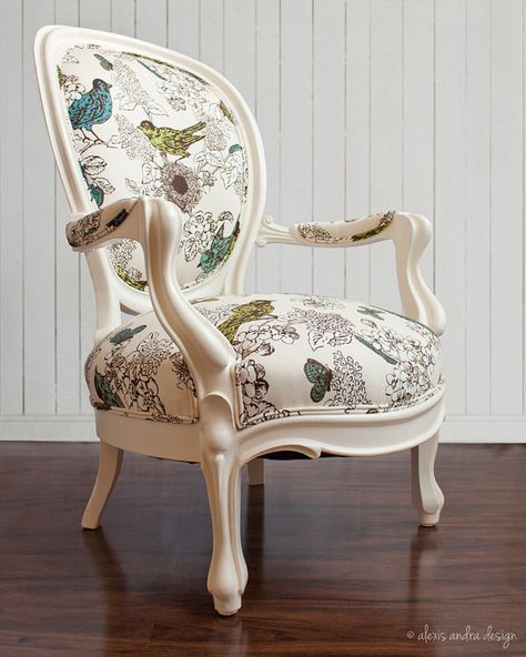 Antique Victorian Round Back Chair   Classic Unexpected Cream Vintage Blue  Green Teal White Brown Whimsical Romantic French Country Armchair.
