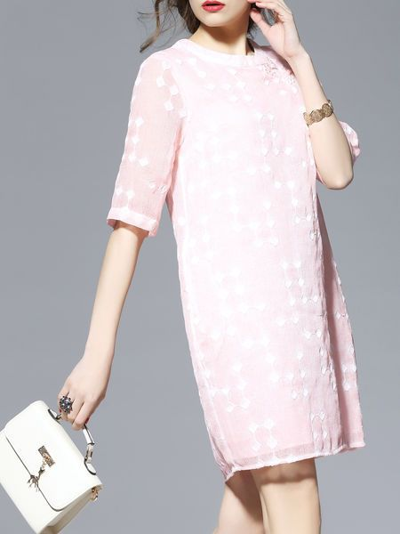Half Sleeve Embroidered Polyester Plain Casual Midi Dress