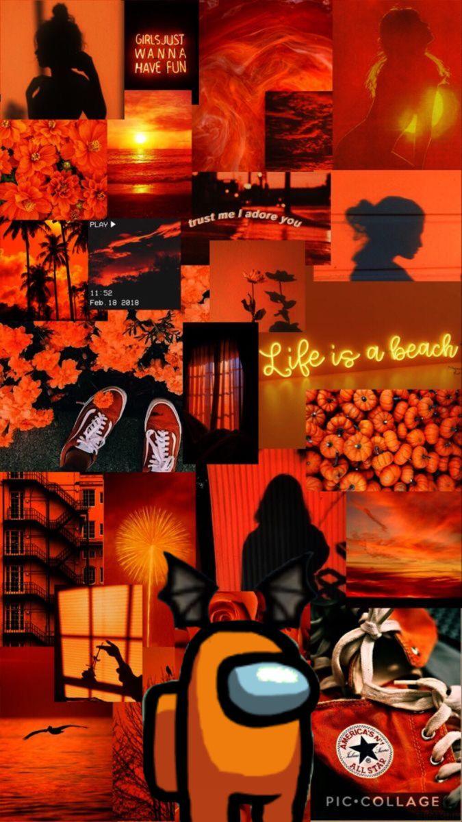 Among Us Iphone Wallpaper Tumblr Aesthetic Orange Aesthetic Orange Wallpaper