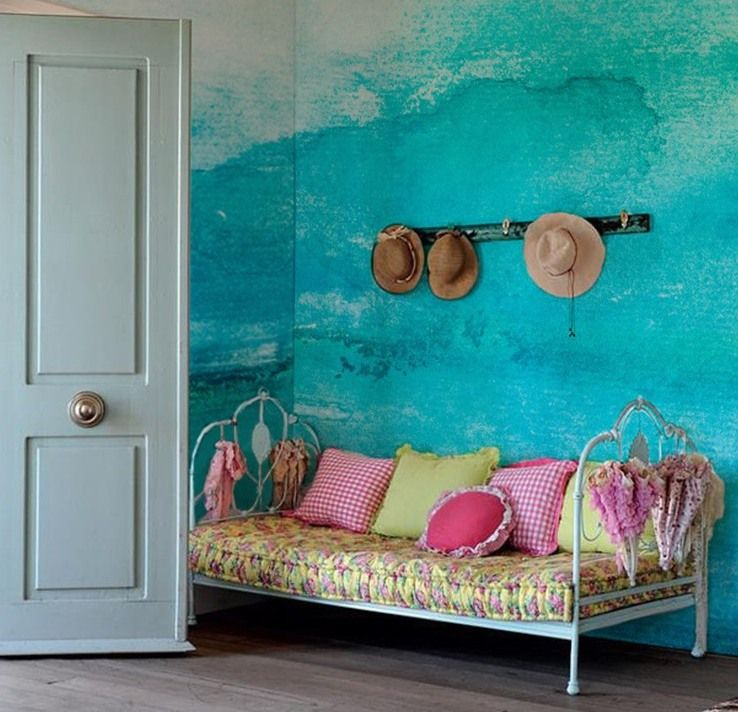 Wand Streichen in Farbpalette der Wandfarbe Blau | Blaue wand, Wände ...