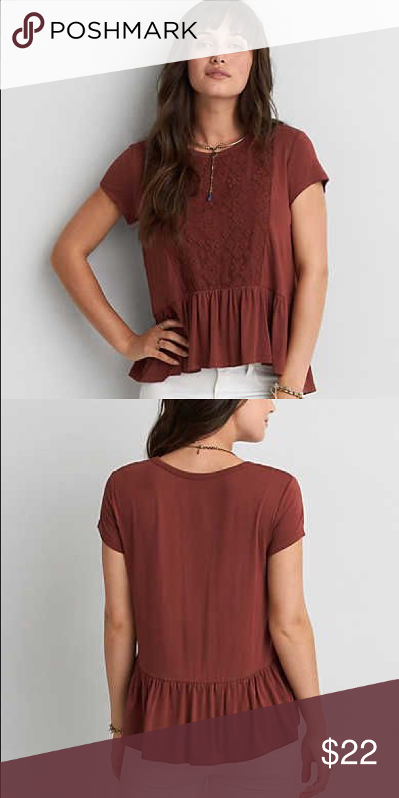 "American Eagle Soft & Sexy Lace Tee A size XXL soft and sexy lace tee with Ruffles. Color is ""iced mocha"". Perfect fall color!!! American Eagle Outfitters Tops Tees - Short Sleeve"
