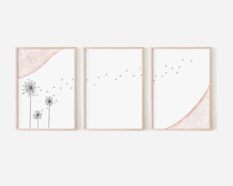 Dandelion Wall Art 3 Piece Wall Art Art Print Download Etsy In 2020 Dandelion Wall Art 3 Piece Wall Art Wall Art