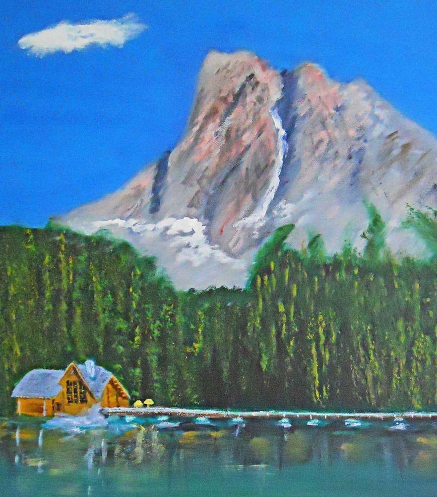 Vintage Folk Naive Painting Yacht Club Pacific Northwest Log