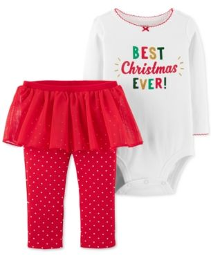 3T Toddler Just One You Carter/'s Christmas Outfit bodysuit red tutu /& Legging