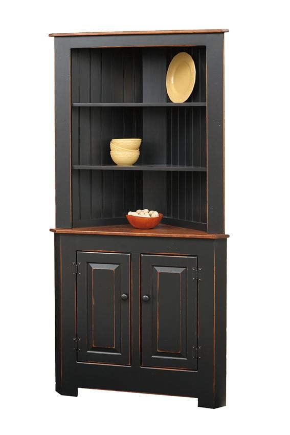 Amish Primitive Pine Corner Kitchen Hutch  Primitives Pine And Adorable Dining Room Corner Hutch Cabinet Design Ideas