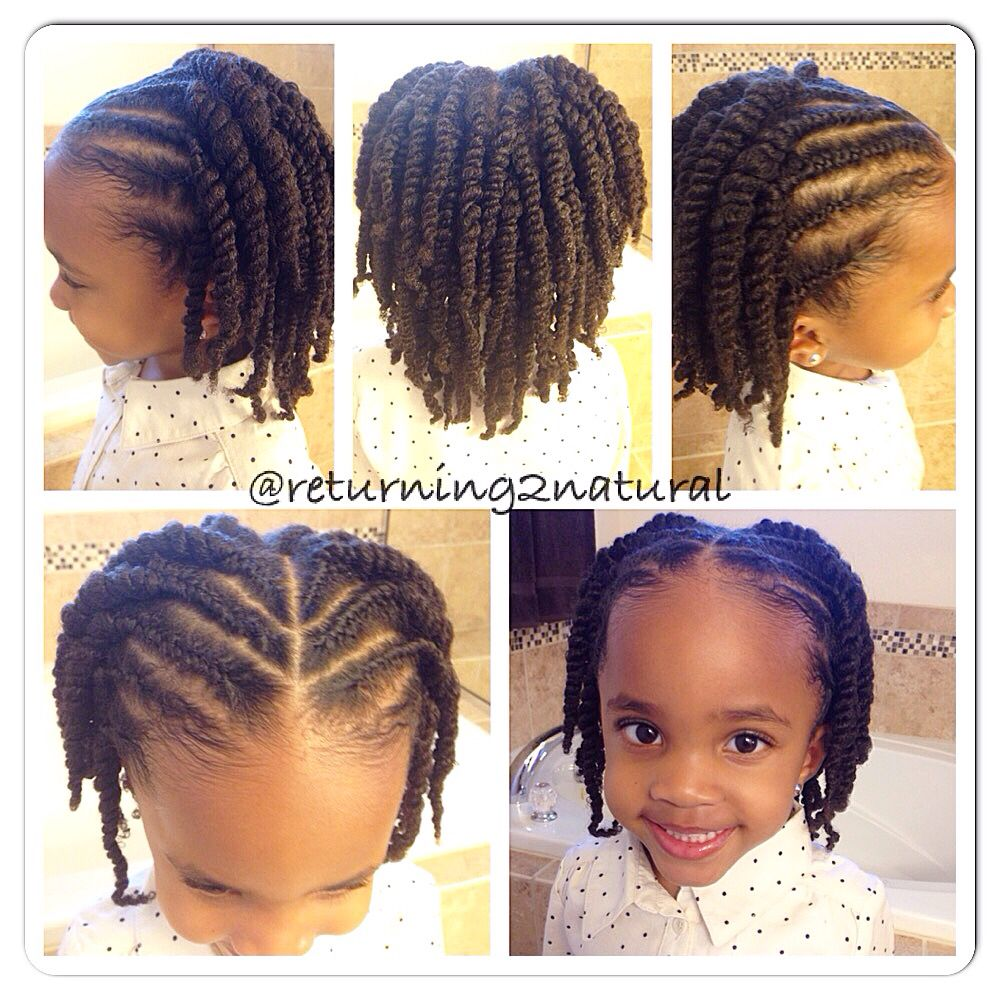 Frenchbraided front small to medium twists in the back easy does