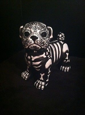 pug skulls pug day of the dead painted sugar skull dog statue dia de los muertos figurine pugs 4930