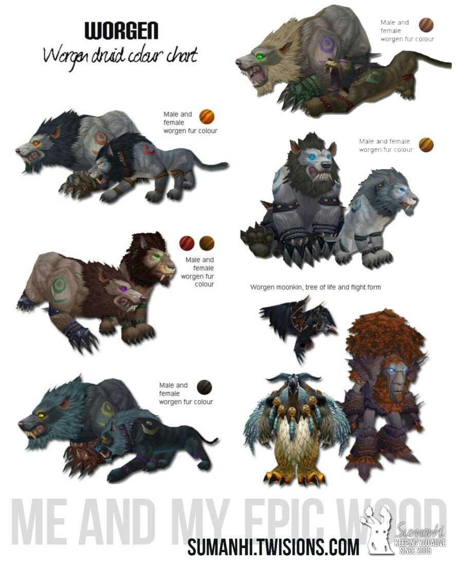 Worgen Druid Color Chart World Of Warcraft In 2019 World Of