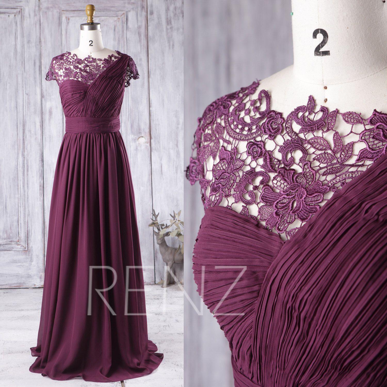 2016 Plum Bridesmaid Dress Long, One Shoulder Chiffon Wedding Dress ...