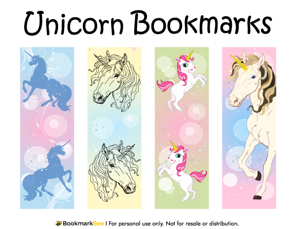 free printable unicorn bookmarks download the pdf template at. Black Bedroom Furniture Sets. Home Design Ideas