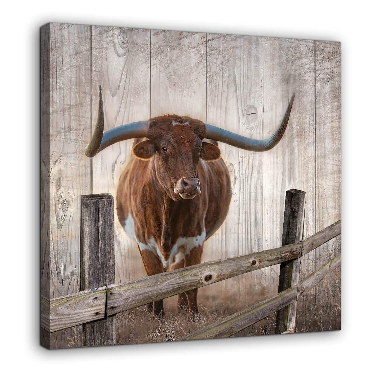 Rustic Wall Decor Canvas Wall Art Of Texas Longhorns For Bathroom Bedroom Wall Decoration Animal Country Farmhous Rustic Wall Decor Rustic Walls Texas Wall Art Texas longhorn bathroom decor