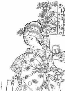 雛段と支度女性の塗り絵の下絵 画像 塗り絵 浮世絵 イラスト