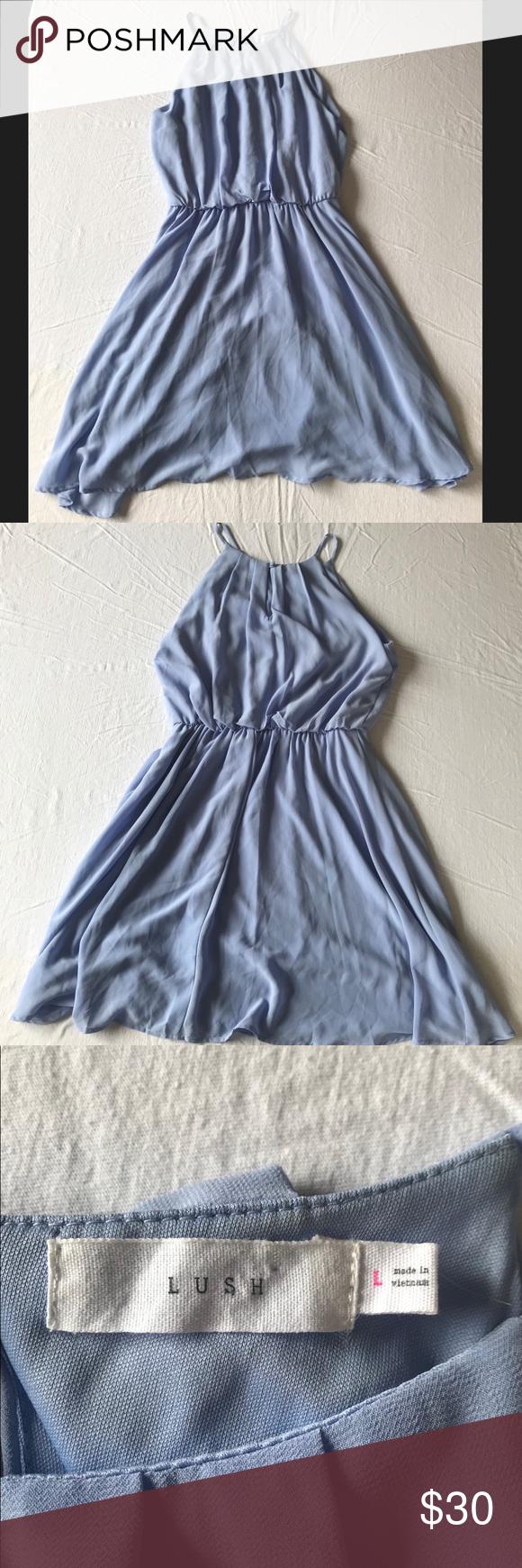 a12ff97500760 Lush Blue Chiffon Skater Dress Size L Great Condition Lush Dresses Midi