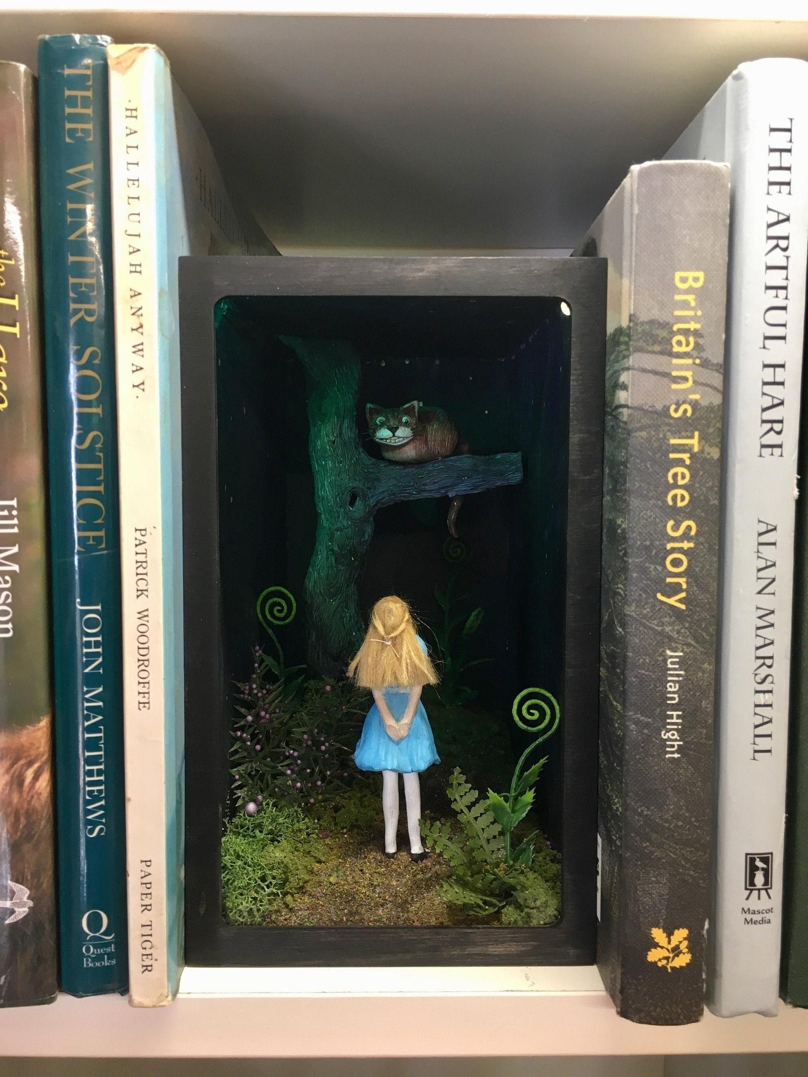 Lit Alice In Wonderland Book Nook Diorama Bookshelf Shadow Box Etsy In 2020 Alice In Wonderland Book Book Nooks Bookshelf Art