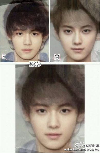 EXO's faces morphed  Exo K, Exo M then all of EXO  Id rather have