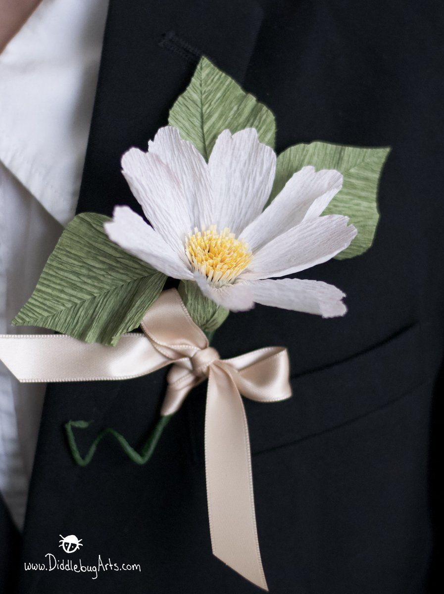 Paper garden cosmos boutonniere or corsage paper flowers by