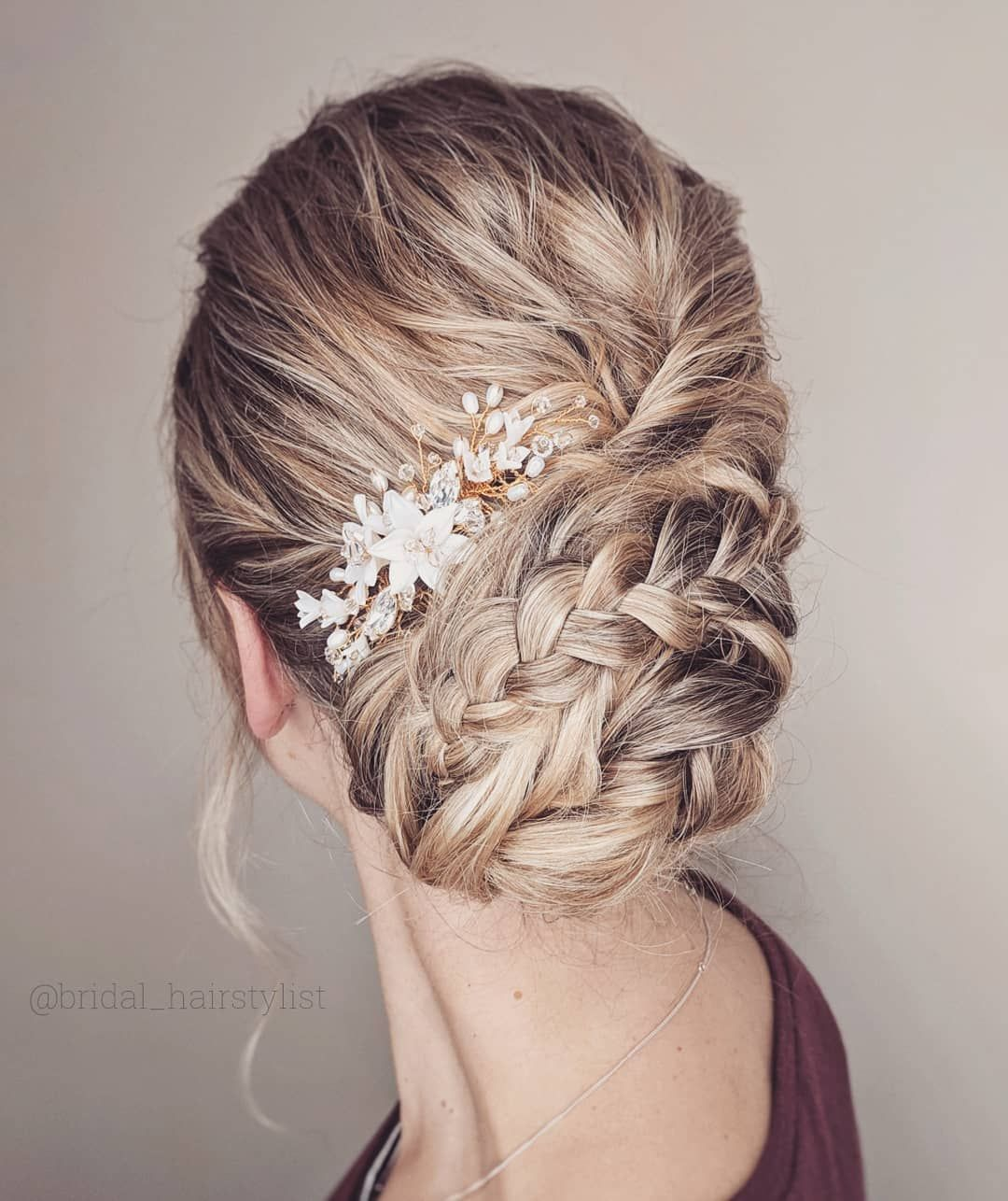 55 Amazing updo hairstyle with the wow factor - braided updo hairstyle ,swept back bridal hairstyle ,updo hairstyles ,wedding hairstyles #weddinghair #hairstyles #updo