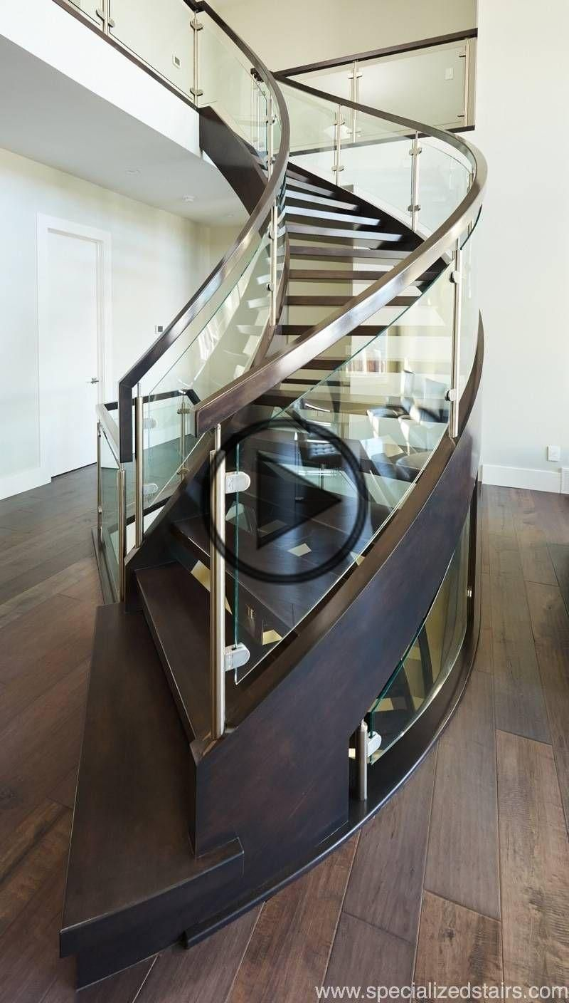 Best Curved Open Rise Maple In 2020 Glass Stairs Stair 400 x 300
