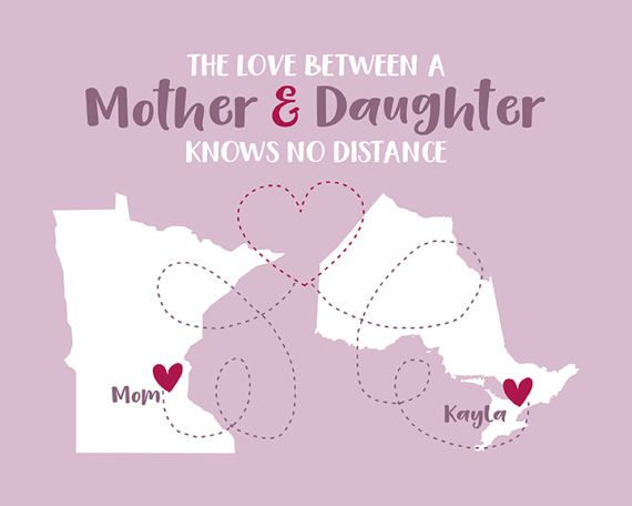 Mom Quotes, Long Distance Mother and Daughter. Mothers Day