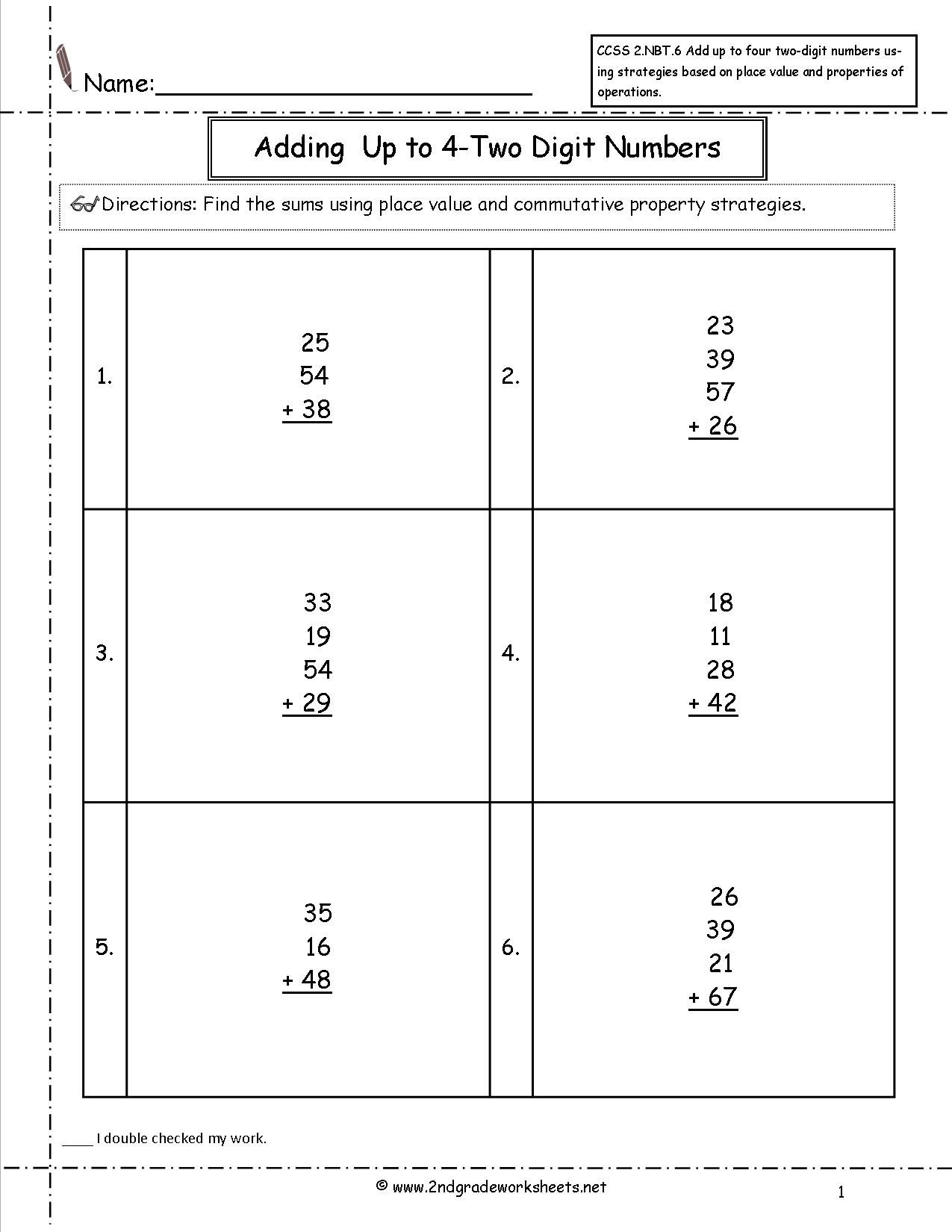 Ccss 2 Nbt 6 Worksheets Adding Up To Four 2 Digit Numbers Worksheets Number Worksheets Super Teacher Worksheets Teacher Worksheets Math