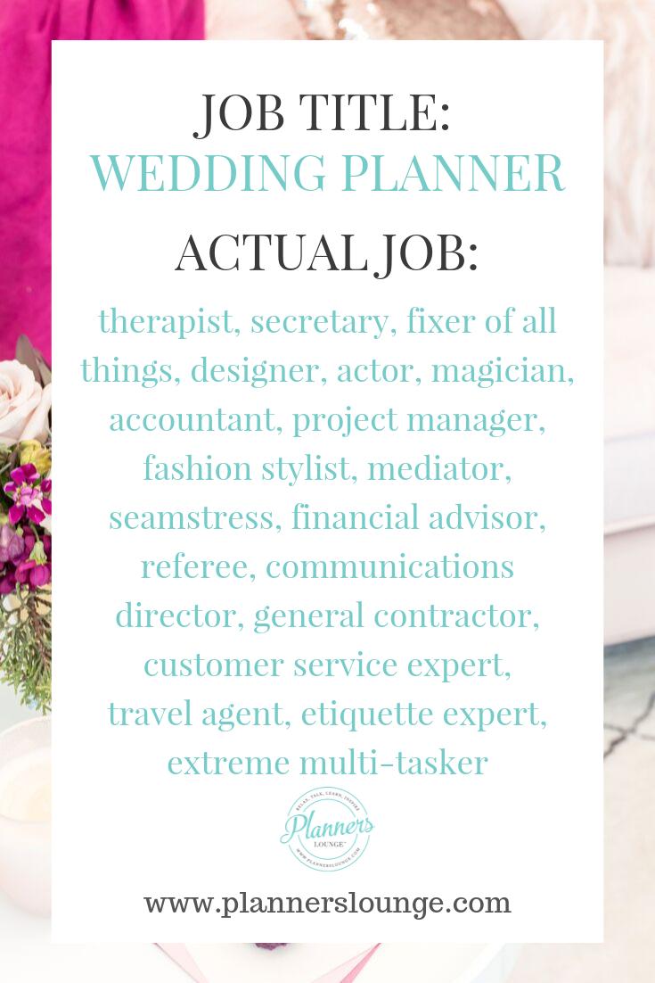 Job Title Wedding Planner Wedding Planner Job Wedding Planner Planner