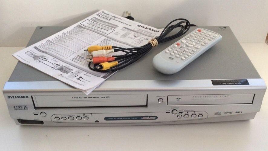 sylvania dv220sl8 vcr cd dvd player recorder rca cables remote rh pinterest com sylvania dvc850c dvd-vcr combo manual sylvania dvd vcr combo manual dv220sl8