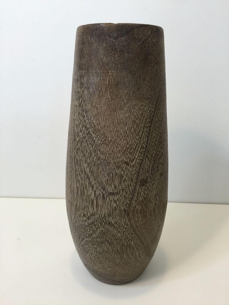 Vintage Japanese Ikebana Vase Hand Carved Bamboo Wood Wcopper