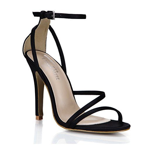 118c7ebf5ed6 Silk-Like Black Party Wedding Bridal Simple Sandal Pumps Prom Heeled  Graduation High Heels Women Fashion Classic Open Toe Dress Thin Heels Ankle  Strappy ...