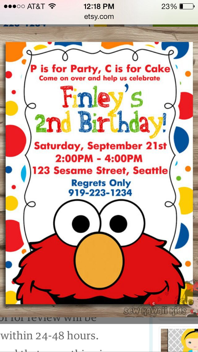 In Elmo Birthday Invitations Party Ideas Sesame Street