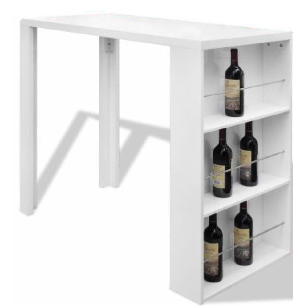 White Dining Table Bar Height Kitchen Table w Shelves Pub Table ...