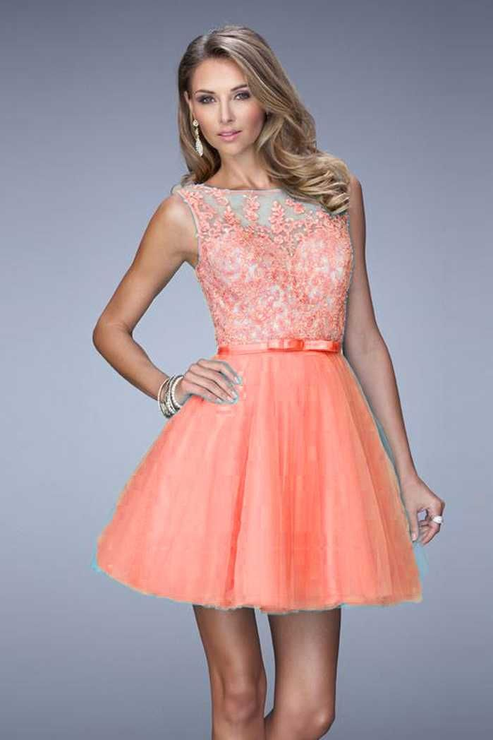 La Femme Coral Layered Tulle 21835 High Neck Homecoming Dresses | La ...