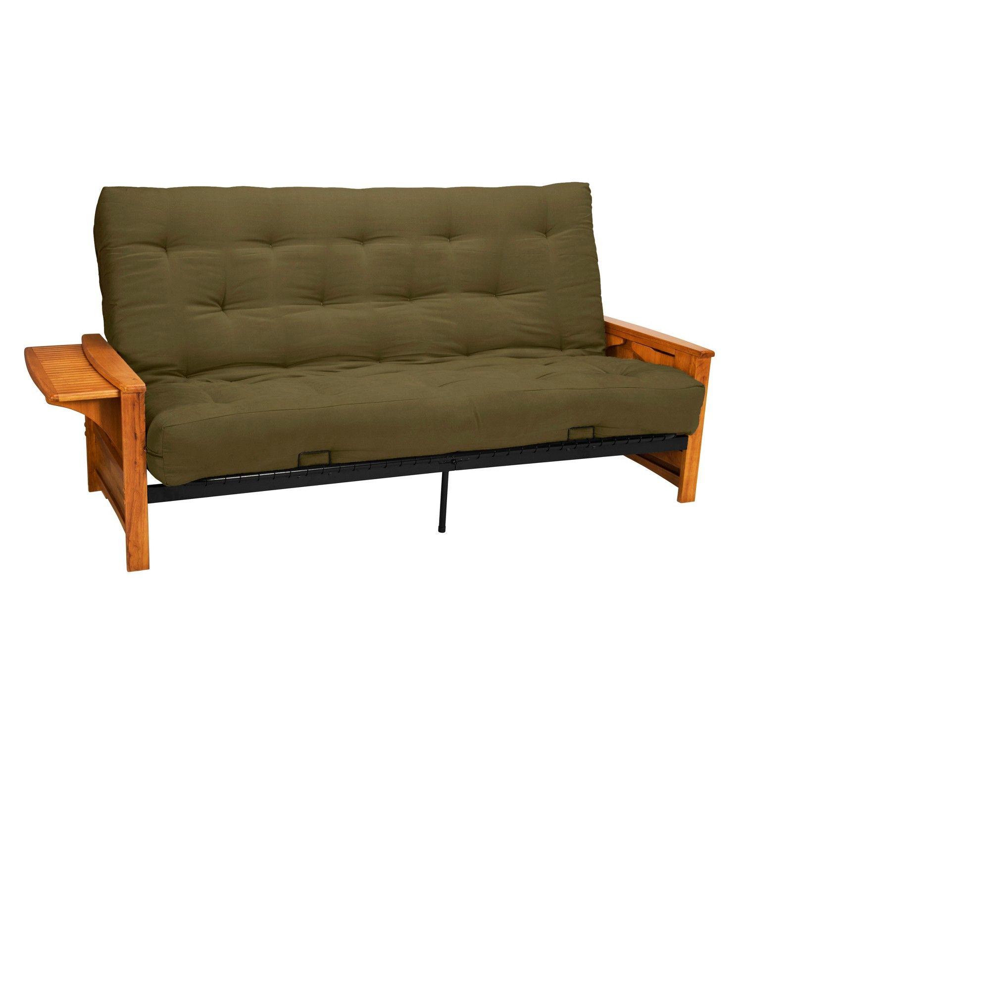 Brooklyn 8 Cotton/Foam Futon Sofa Sleeper - Walnut Wood Finish ...