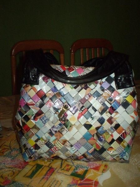 Papierové skladanie - hotová kabelka