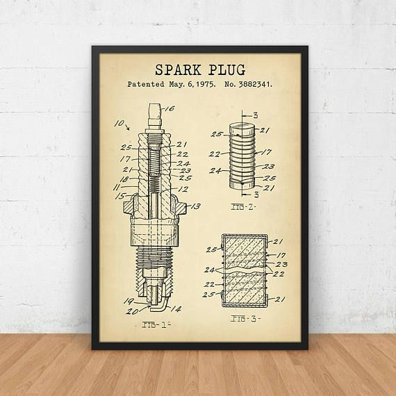 Spark plug patent printable digital download blueprint art spark plug patent printable digital download blueprint art automotive decor engine art prints malvernweather Gallery
