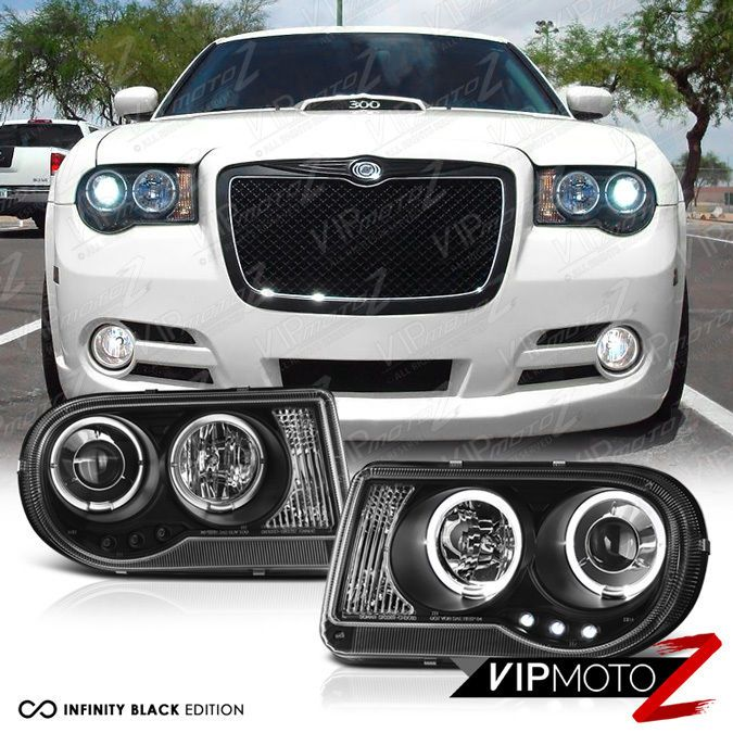 Details About New Pair Lh Rh Dual Halo Led Drl Projector Black