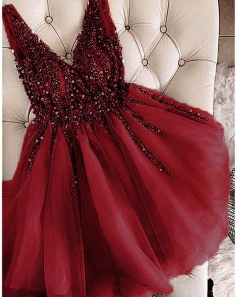 Red party dress v neck evening dress tulle beading prom dress sleeveless homecoming short dress